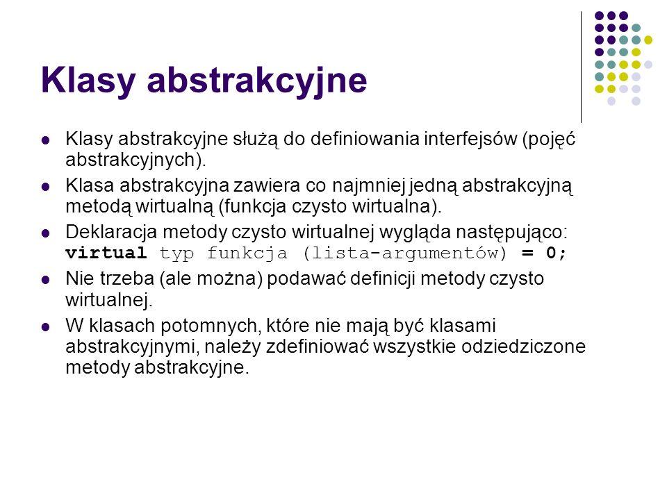 Klasy abstrakcyjne Klasy abstrakcyjne służą do definiowania interfejsów (pojęć abstrakcyjnych).