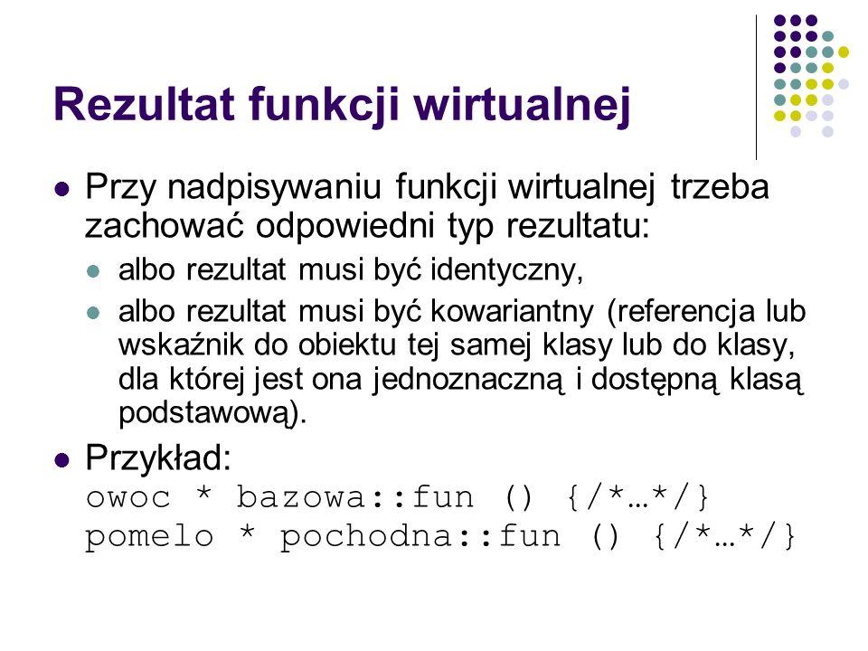 Rezultat funkcji wirtualnej