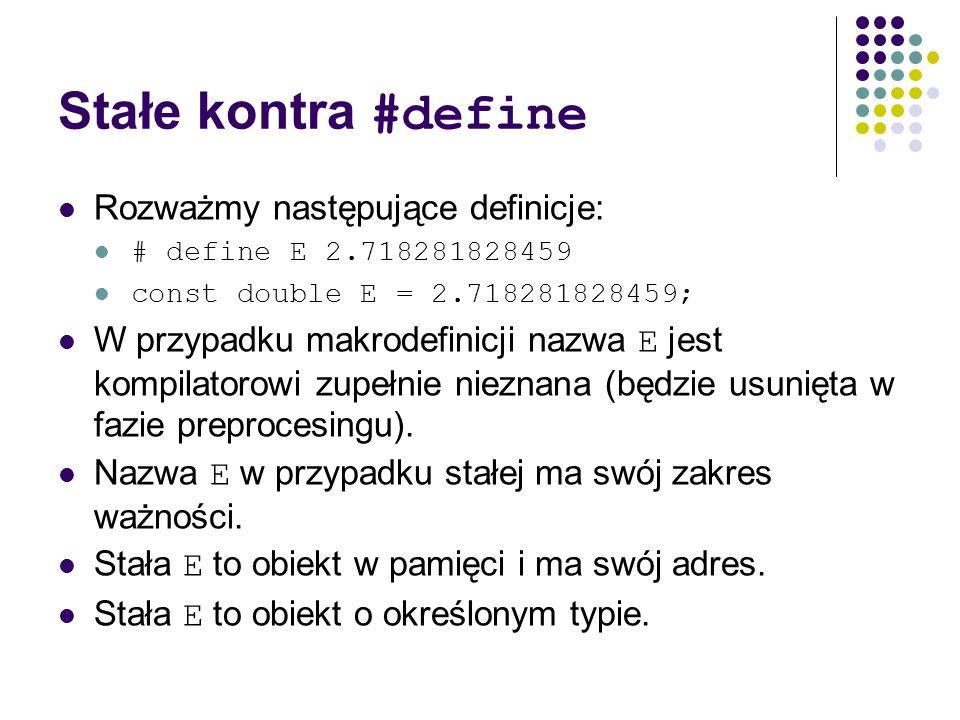 Stałe kontra #define Rozważmy następujące definicje: