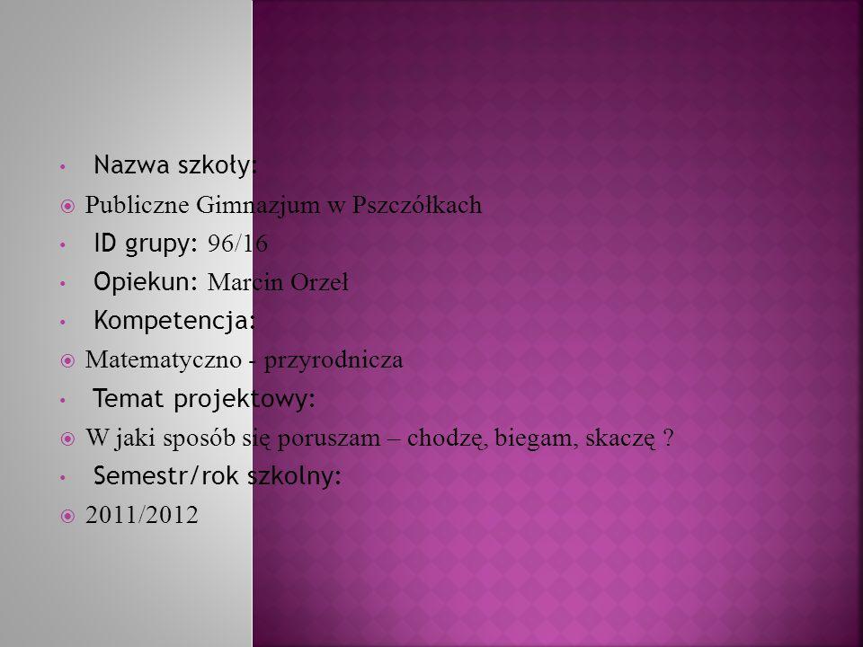 Nazwa szkoły: Publiczne Gimnazjum w Pszczółkach. ID grupy: 96/16. Opiekun: Marcin Orzeł. Kompetencja: