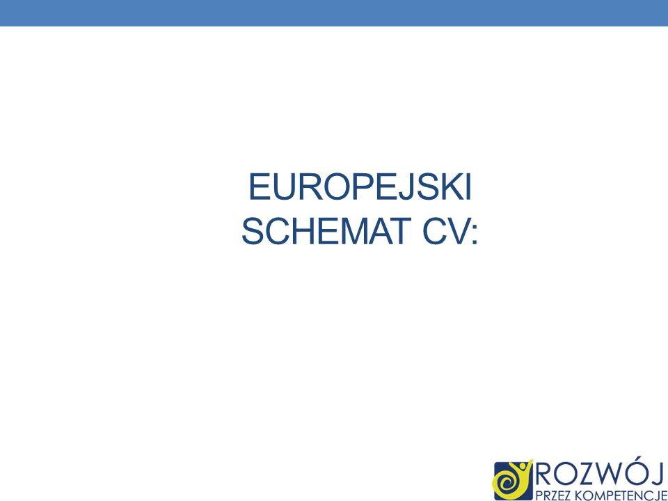 EUROPEJSKI SCHEMAT CV: