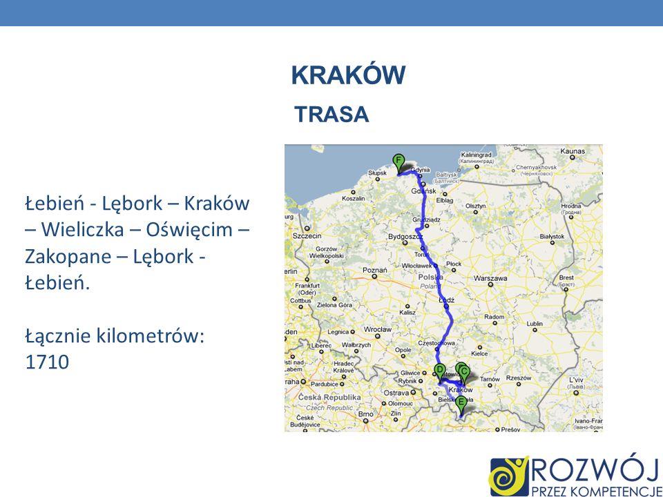 Kraków TRASA. Łebień - Lębork – Kraków – Wieliczka – Oświęcim – Zakopane – Lębork - Łebień.