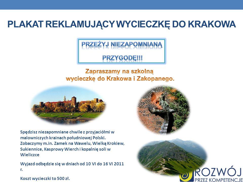 Plakat reklamujący wycieczkę do krakowa