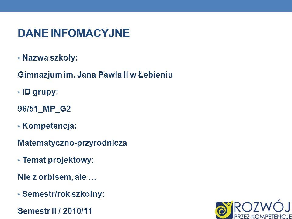 Dane INFOMACYJNE Nazwa szkoły: Gimnazjum im. Jana Pawła II w Łebieniu