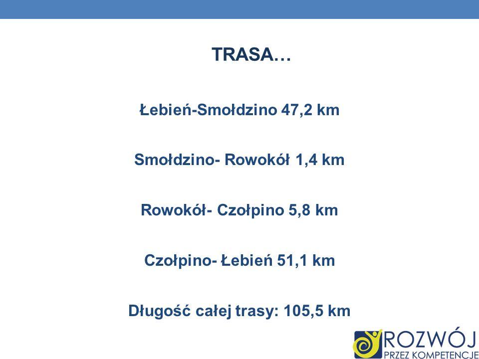 Trasa… Łebień-Smołdzino 47,2 km Smołdzino- Rowokół 1,4 km Rowokół- Czołpino 5,8 km Czołpino- Łebień 51,1 km Długość całej trasy: 105,5 km