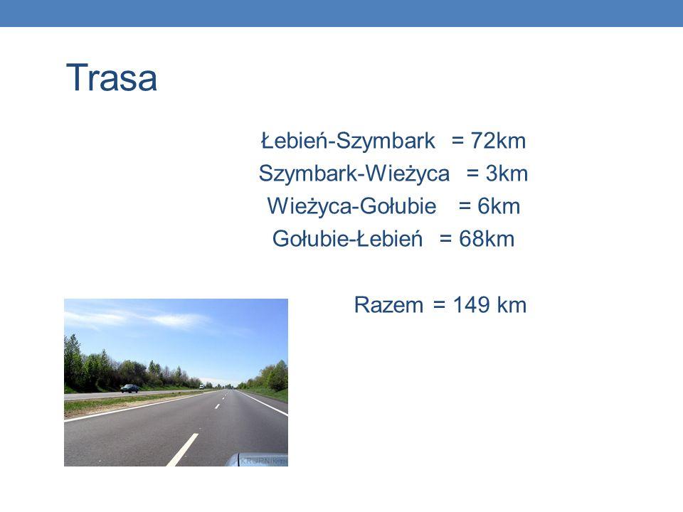 Trasa Łebień-Szymbark = 72km Szymbark-Wieżyca = 3km
