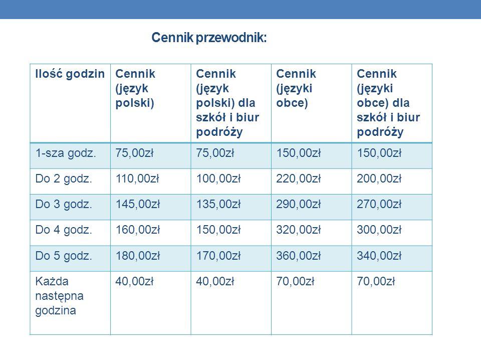 Cennik przewodnik: Ilość godzin Cennik (język polski)