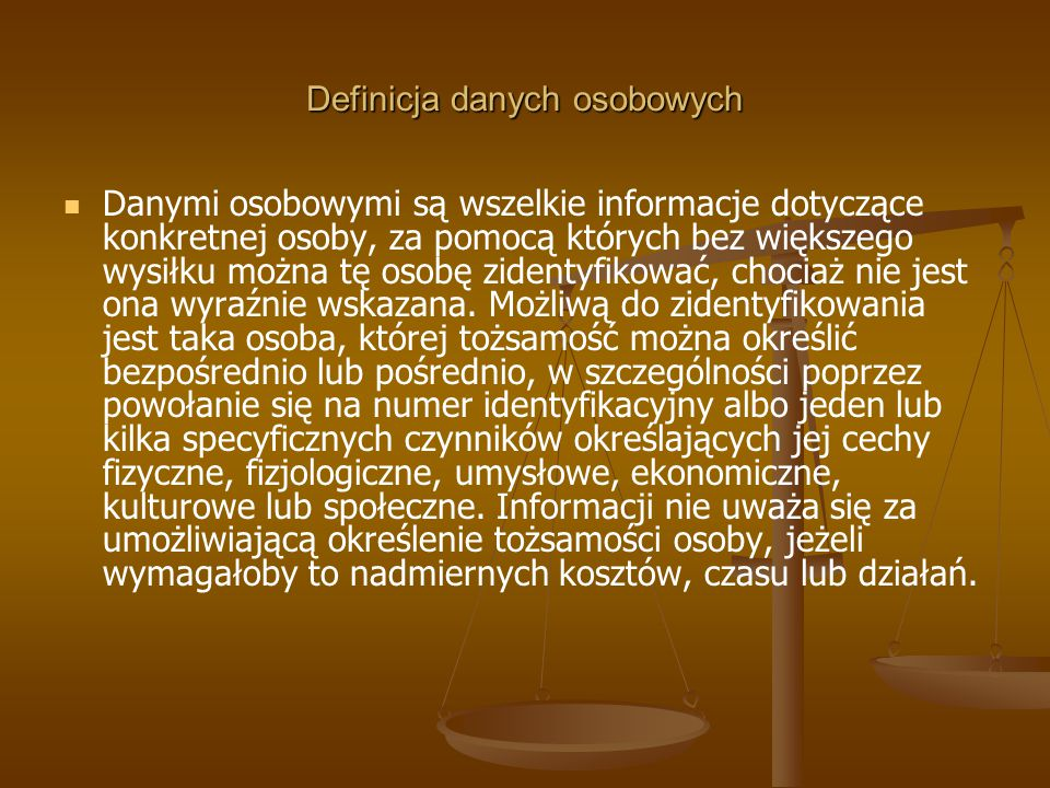 Definicja danych osobowych