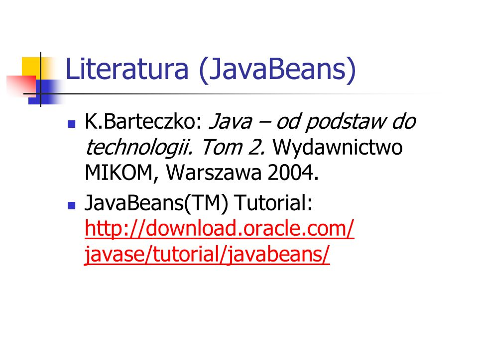 Literatura (JavaBeans)