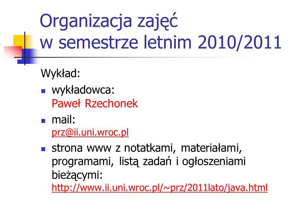 Organizacja zajęć w semestrze letnim 2010/2011
