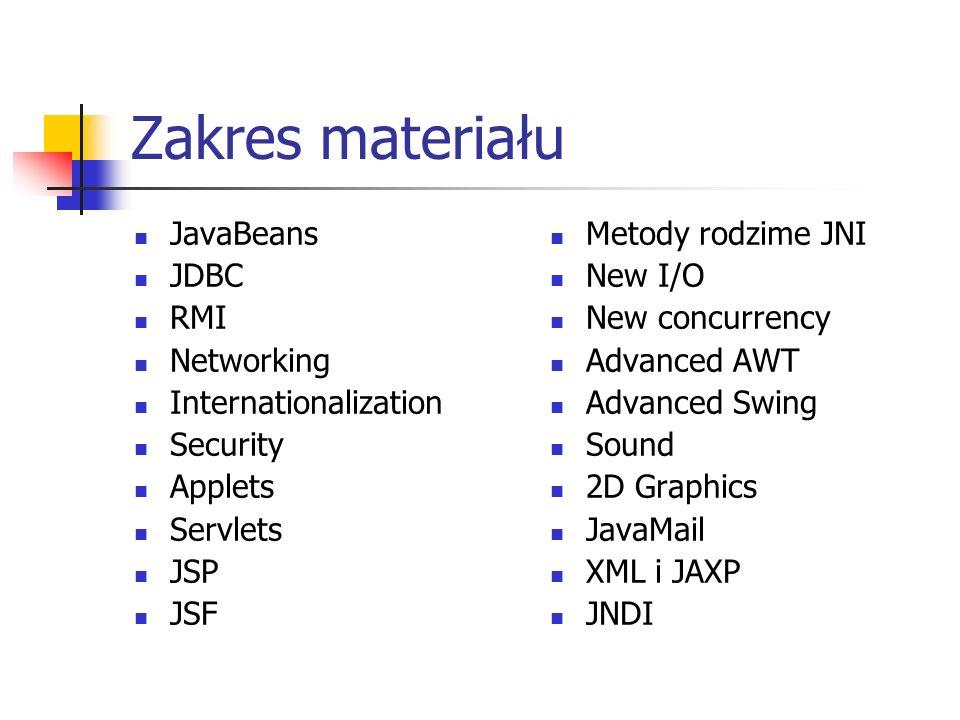 Zakres materiału JavaBeans JDBC RMI Networking Internationalization