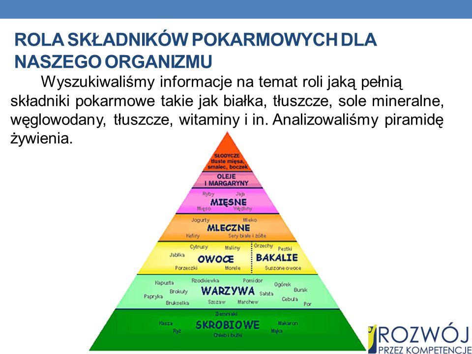 Rola składników pokarmowych dla naszego organizmu