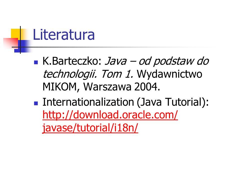 Literatura K.Barteczko: Java – od podstaw do technologii. Tom 1. Wydawnictwo MIKOM, Warszawa 2004.