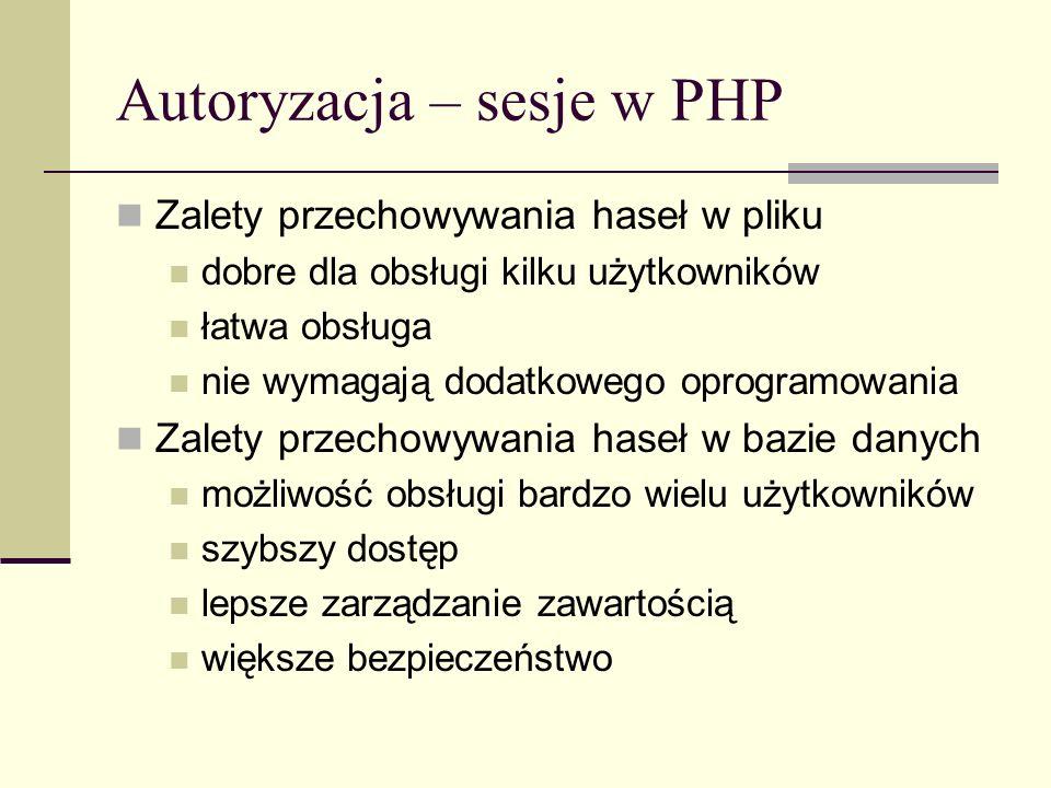 Autoryzacja – sesje w PHP
