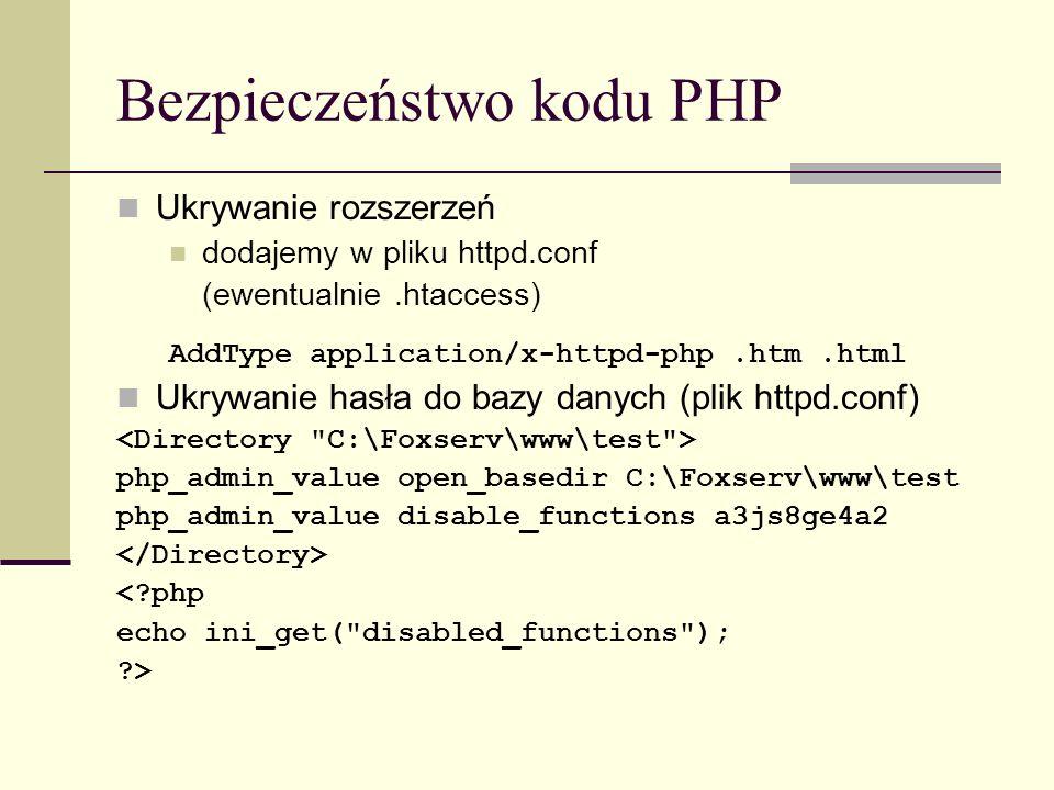 Bezpieczeństwo kodu PHP