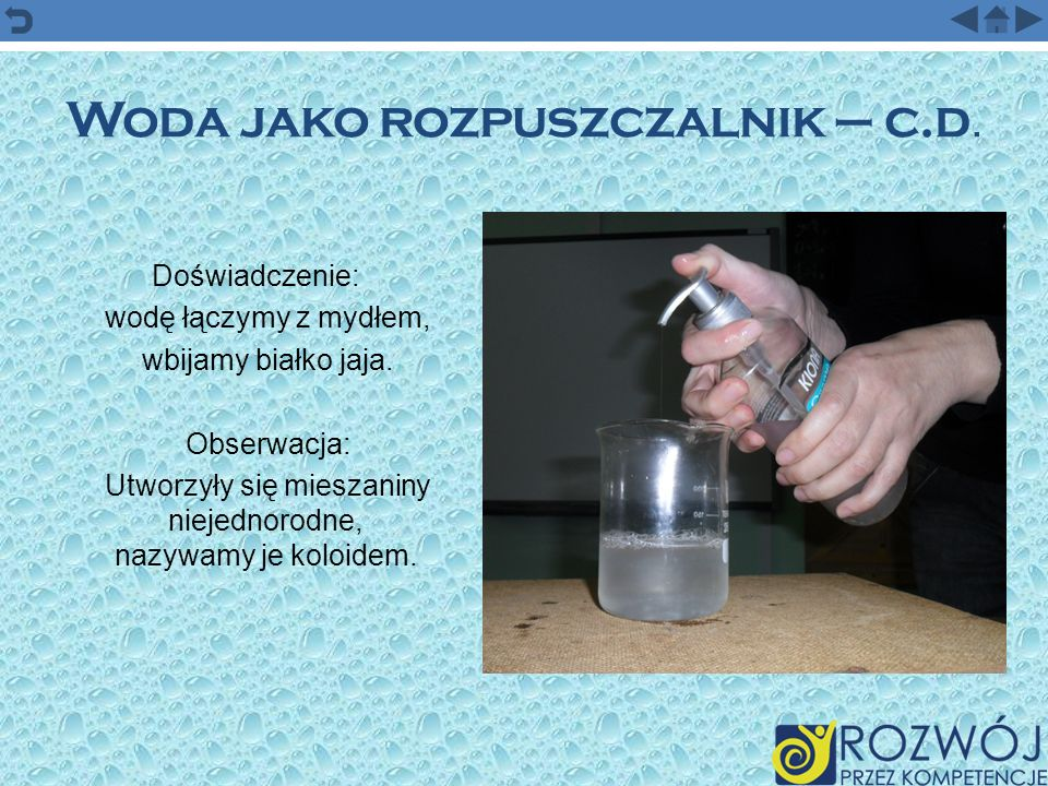 Woda jako rozpuszczalnik – c.d.