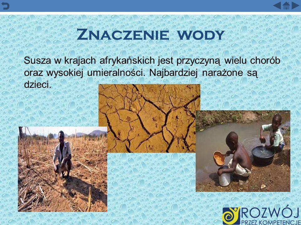 Znaczenie wodySusza w krajach afrykańskich jest przyczyną wielu chorób oraz wysokiej umieralności.