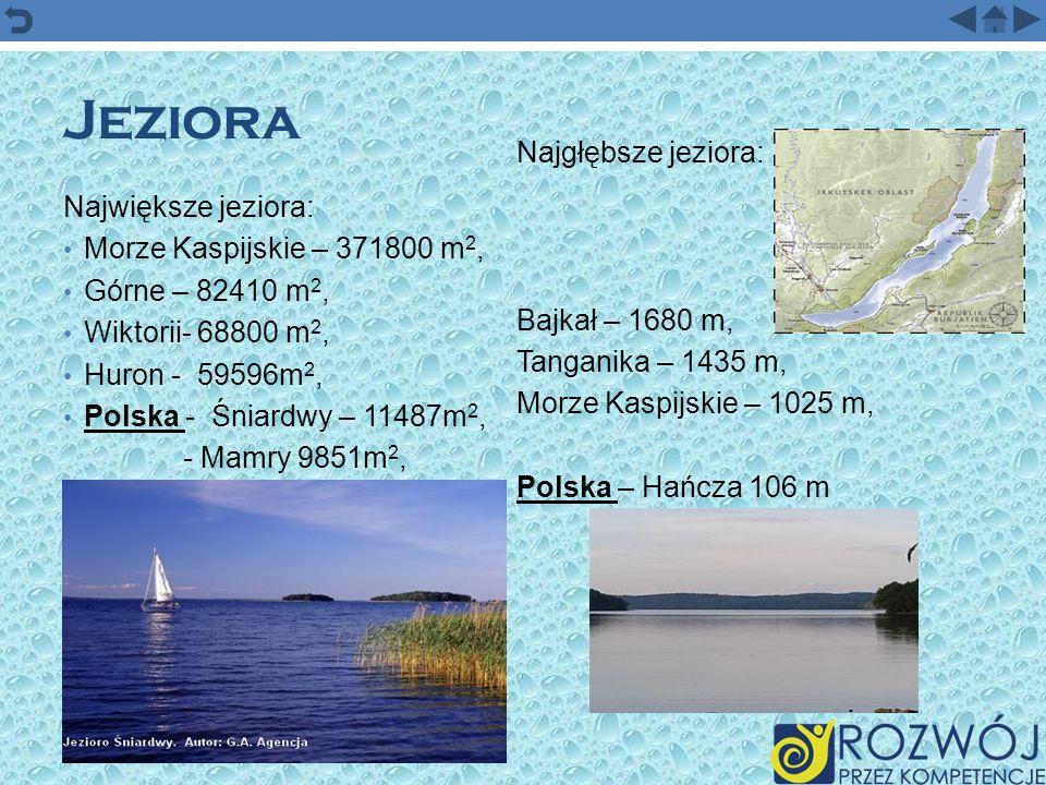 Jeziora Najgłębsze jeziora: Największe jeziora: