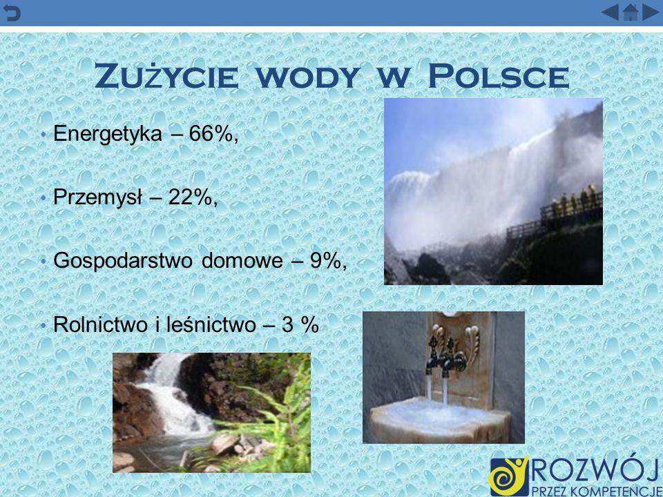 Zużycie wody w Polsce Energetyka – 66%, Przemysł – 22%,