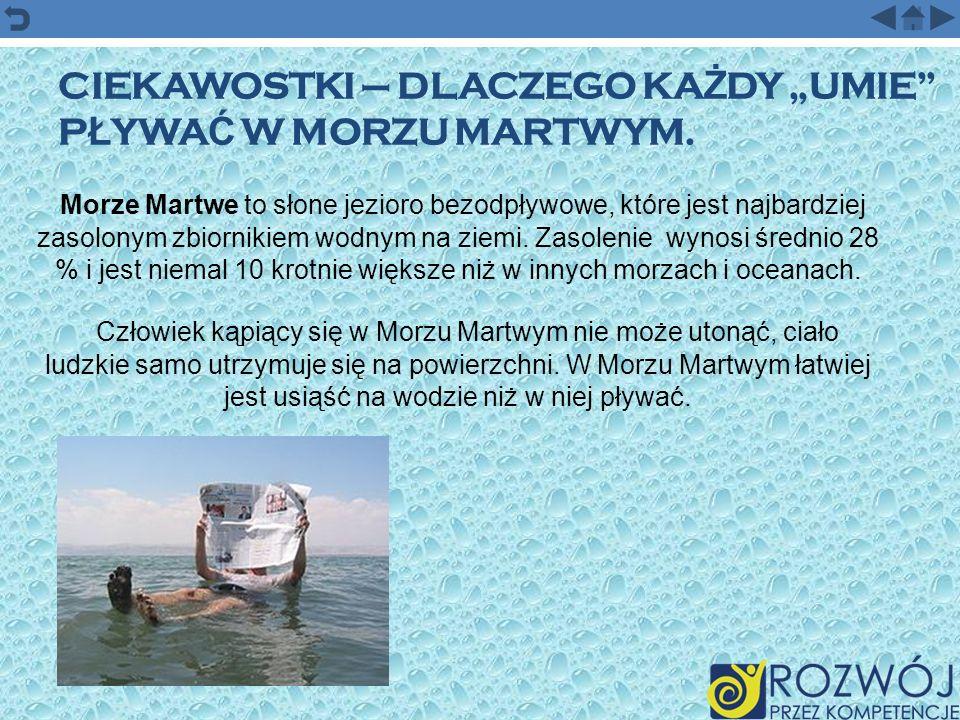 """Ciekawostki – Dlaczego każdy """"umie pływać w Morzu Martwym."""