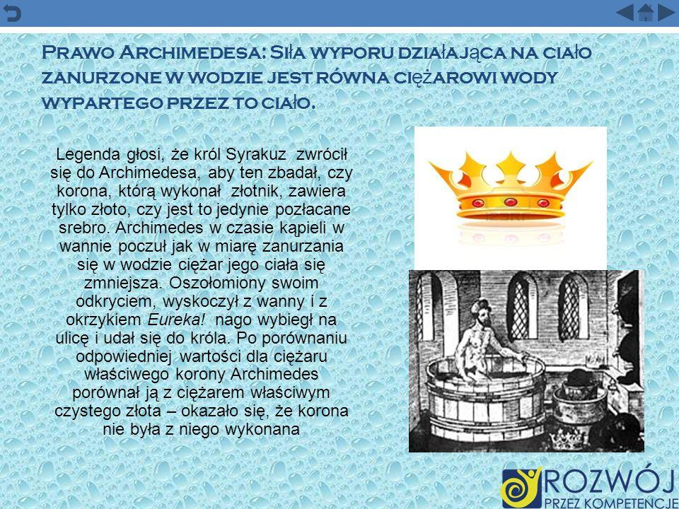 Prawo Archimedesa: Siła wyporu działająca na ciało zanurzone w wodzie jest równa ciężarowi wody wypartego przez to ciało.