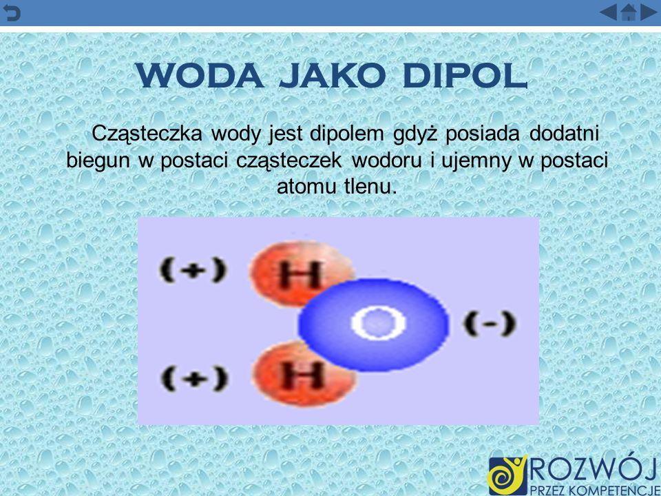 WODA JAKO DIPOLCząsteczka wody jest dipolem gdyż posiada dodatni biegun w postaci cząsteczek wodoru i ujemny w postaci atomu tlenu.