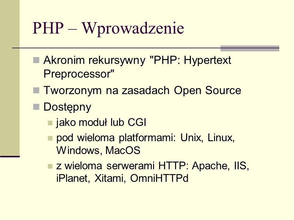 PHP – Wprowadzenie Akronim rekursywny PHP: Hypertext Preprocessor