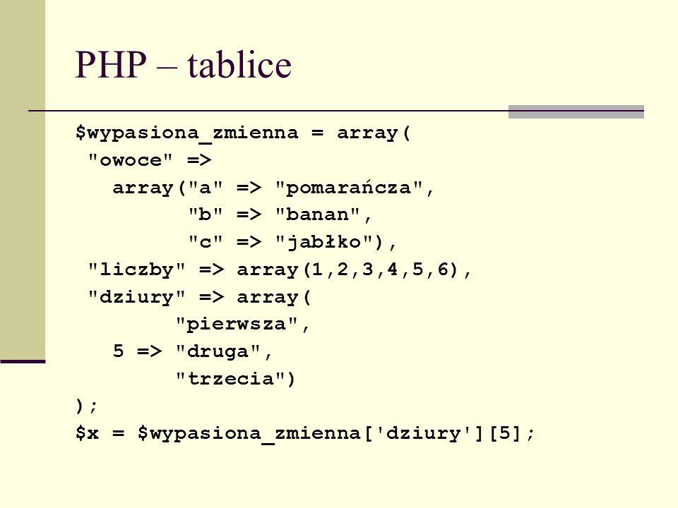 PHP – tablice $wypasiona_zmienna = array( owoce =>