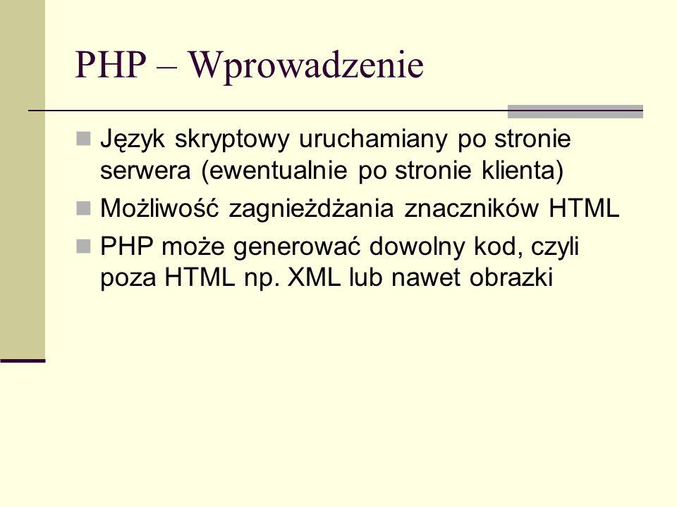 PHP – Wprowadzenie Język skryptowy uruchamiany po stronie serwera (ewentualnie po stronie klienta) Możliwość zagnieżdżania znaczników HTML.