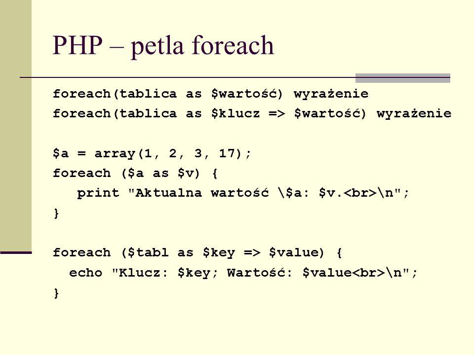 PHP – petla foreach foreach(tablica as $wartość) wyrażenie