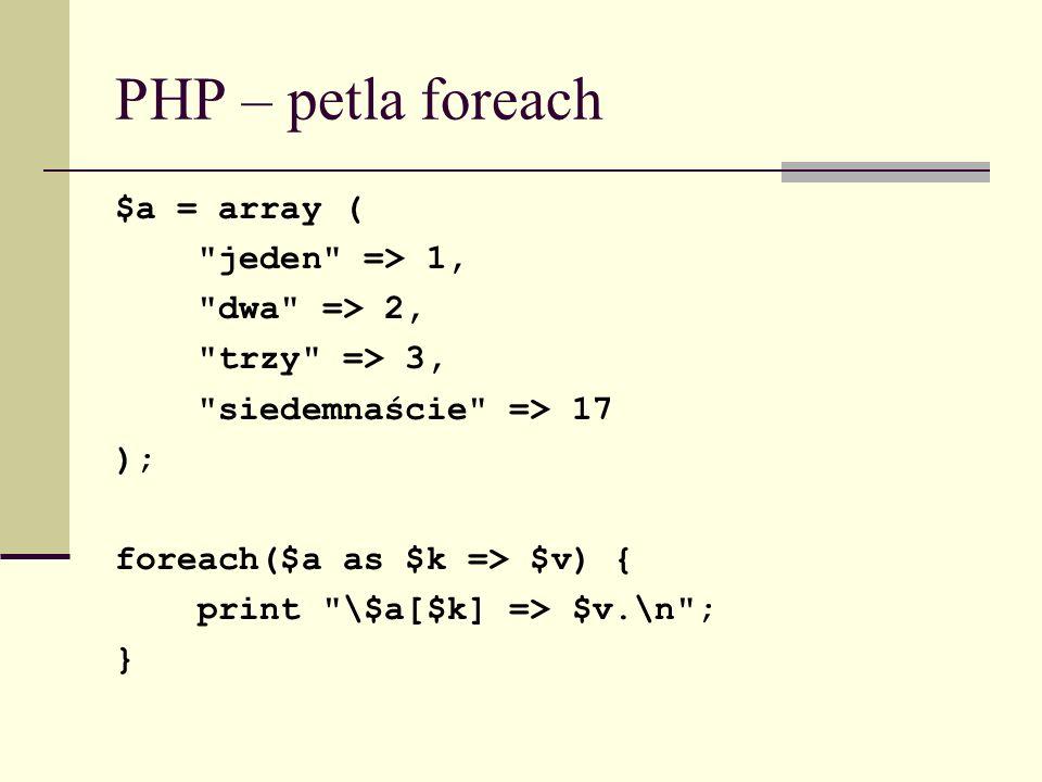 PHP – petla foreach $a = array ( jeden => 1, dwa => 2,