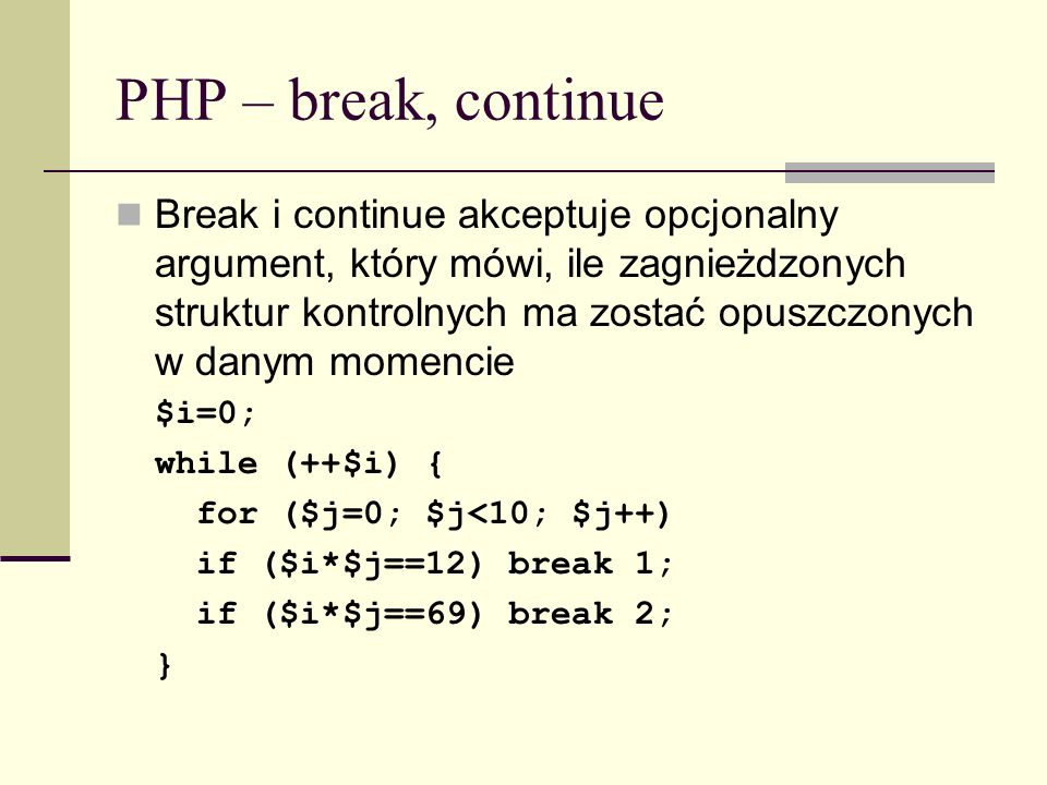 PHP – break, continue