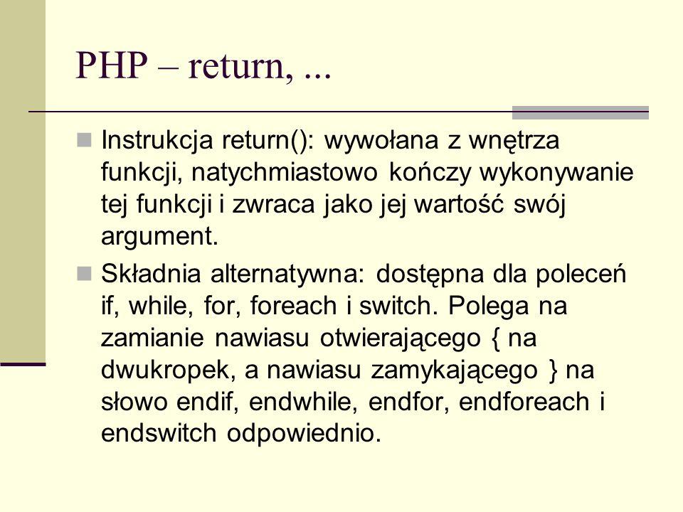 PHP – return, ...