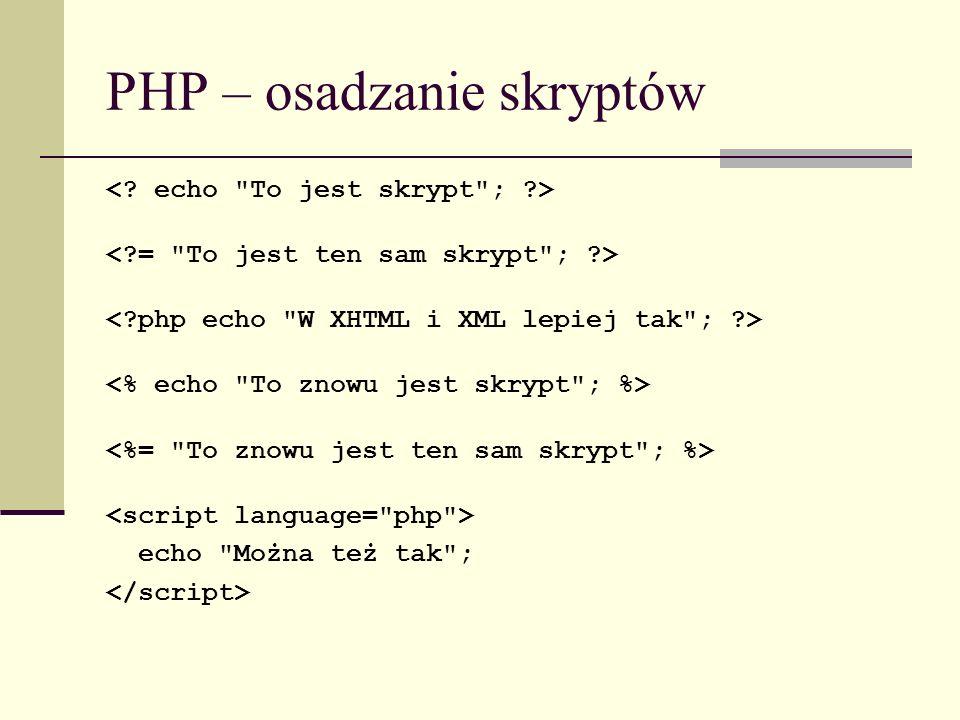 PHP – osadzanie skryptów