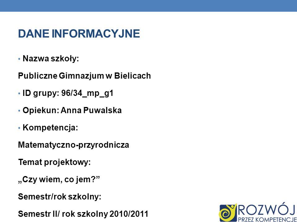 Dane INFORMACYJNE Nazwa szkoły: Publiczne Gimnazjum w Bielicach