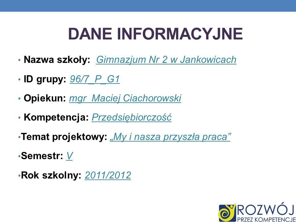 Dane INFORMACYJNE Nazwa szkoły: Gimnazjum Nr 2 w Jankowicach