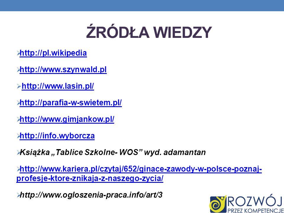 Źródła wiedzy http://pl.wikipedia http://www.szynwald.pl
