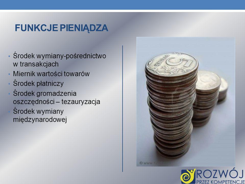 Funkcje pieniądza Środek wymiany-pośrednictwo w transakcjach