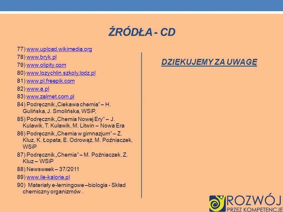 Źródła - cd DZIĘKUJEMY ZA UWAGĘ
