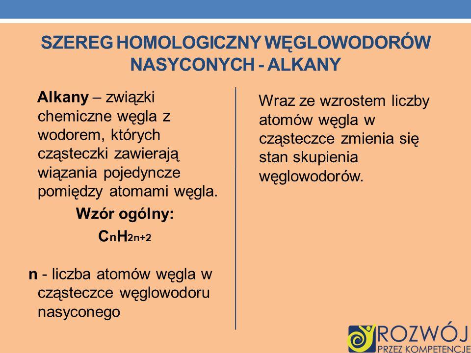 SZEREG HOMOLOGICZNY WĘGLOWODORÓW NASYCONYCH - ALKANY