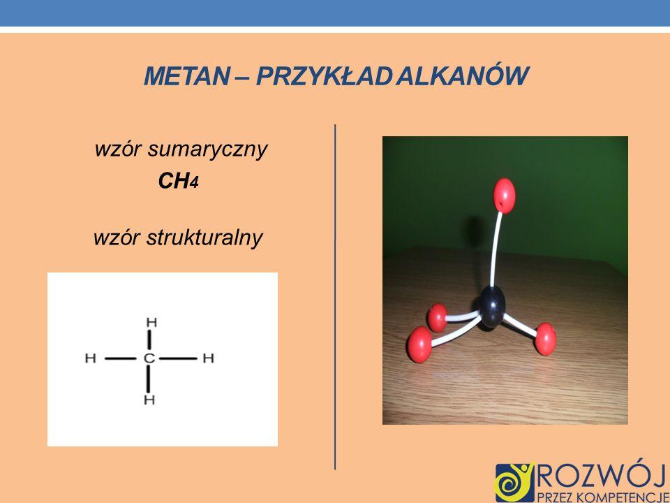 Metan – przykład alkanów