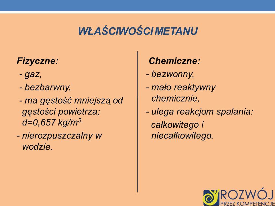 Właściwości metanuFizyczne: - gaz, - bezbarwny, - ma gęstość mniejszą od gęstości powietrza; d=0,657 kg/m3, - nierozpuszczalny w wodzie.