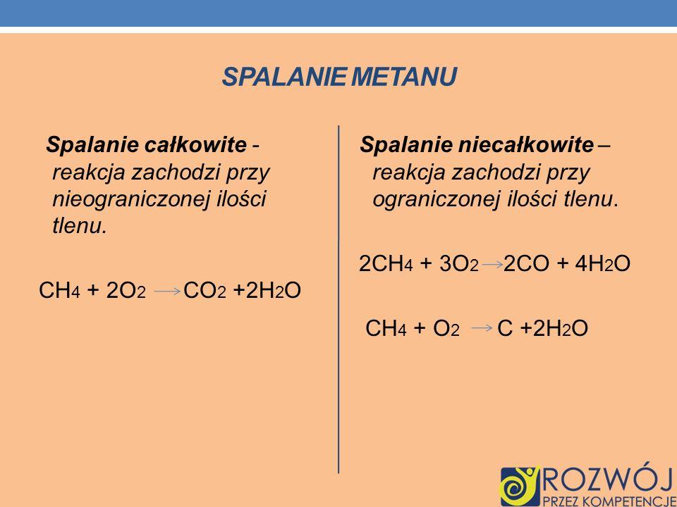 Spalanie metanu Spalanie całkowite - reakcja zachodzi przy nieograniczonej ilości tlenu. CH4 + 2O2 CO2 +2H2O