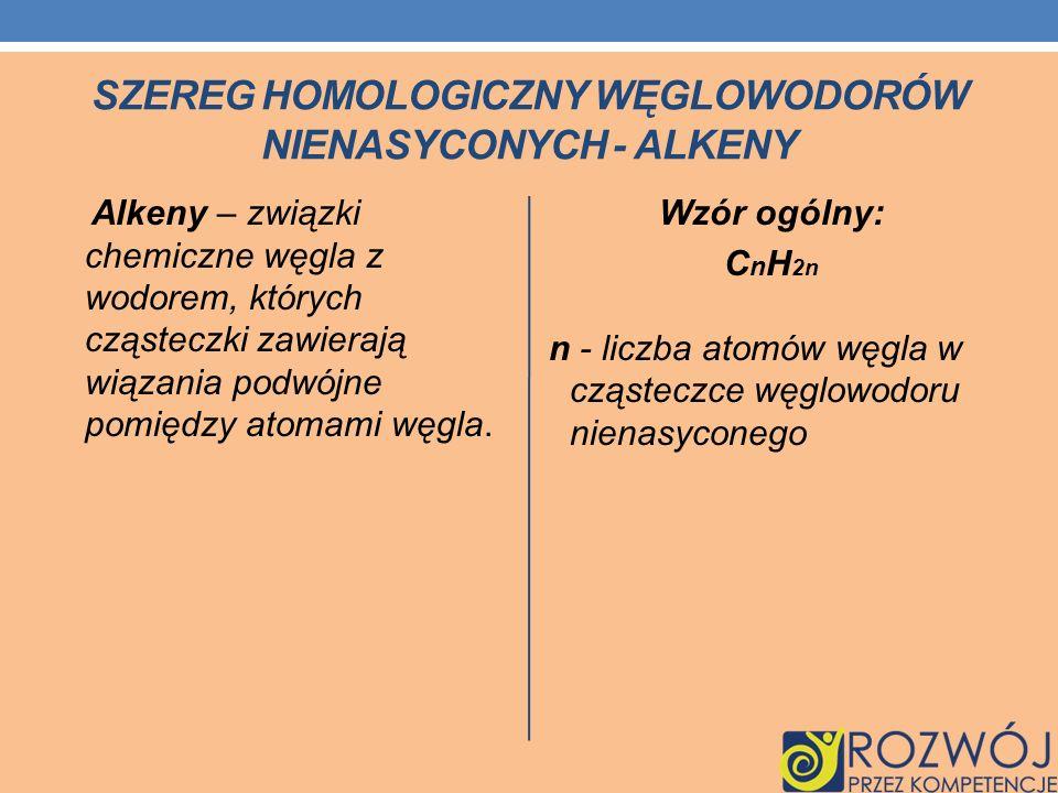SZEREG HOMOLOGICZNY WĘGLOWODORÓW NIENASYCONYCH - ALKENY