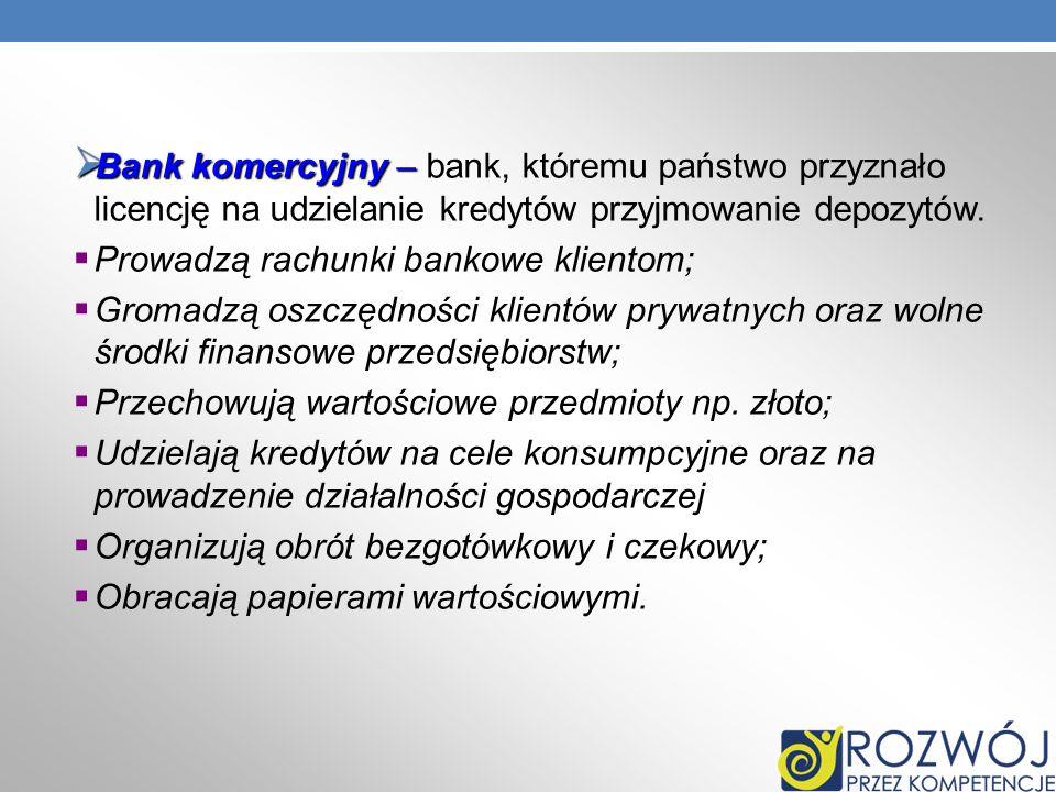 Bank komercyjny – bank, któremu państwo przyznało licencję na udzielanie kredytów przyjmowanie depozytów.