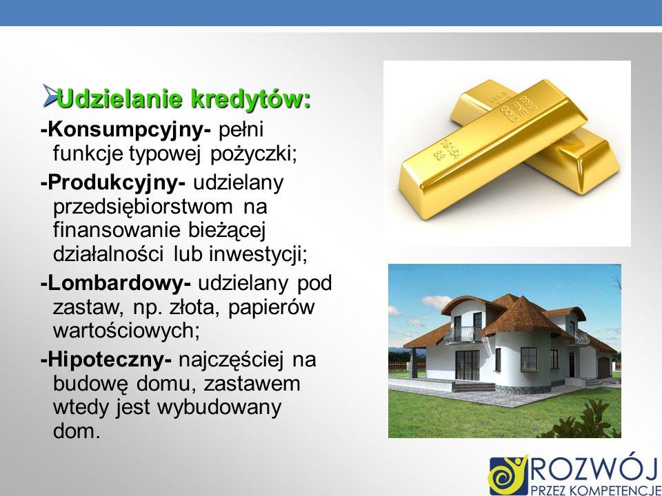 Udzielanie kredytów: -Konsumpcyjny- pełni funkcje typowej pożyczki;