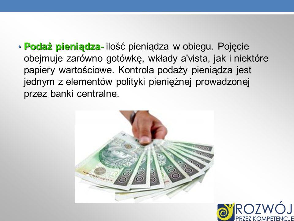 Podaż pieniądza- ilość pieniądza w obiegu