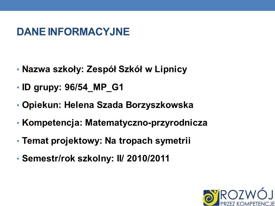 DANE INFORMACYJNE Nazwa szkoły: Zespół Szkół w Lipnicy