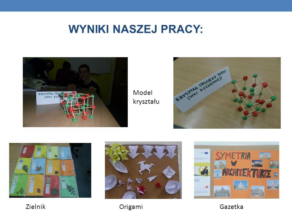 WYNIKI NASZEJ PRACY: Model kryształu Zielnik Origami Gazetka
