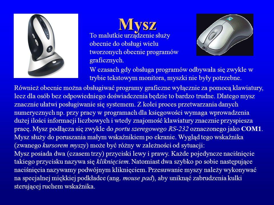Mysz To malutkie urządzenie służy obecnie do obsługi wielu tworzonych obecnie programów graficznych.
